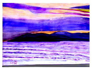 Sunset at Pismo Beach - watercolor sketch