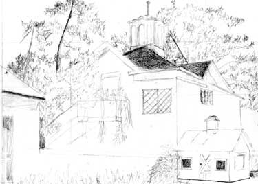 Pencil sketch of the Luther Burbank House