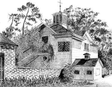 Pencil drawing of Luther Burbank House