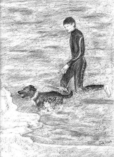 Pencil drawing - Surfer with his dog