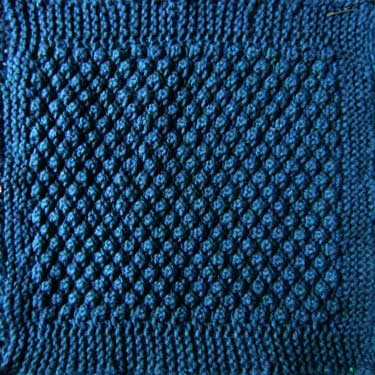 Knitted square for Afghan sampler -  Trinity stitch