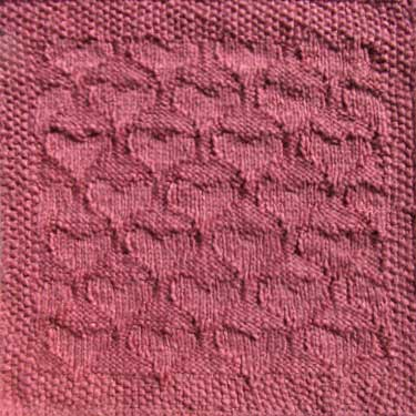 Knitting Patterns For Squares : Knitted quilt squares - Valentine Hearts pattern